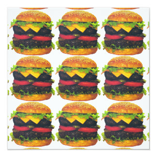 Double Deluxe Hamburger with Cheese 13 Cm X 13 Cm Square Invitation Card