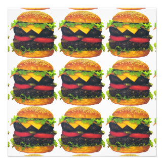 Double Deluxe Hamburger with Cheese Personalized Invitation