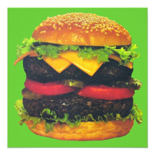 Double Deluxe Hamburger with Cheese Personalized Announcement