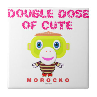 Double Dose Of Cute-Cute Monkey-Morocko Tile