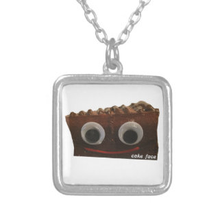 double dutch choco cake face w logo silver plated necklace