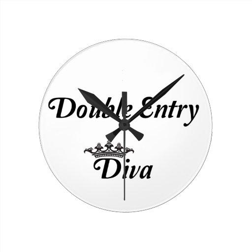 Double Entry Diva Round Clocks