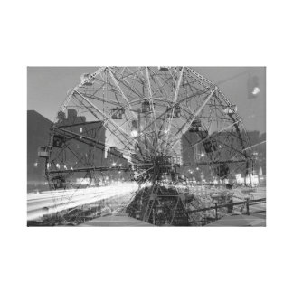 double exposure coney island - NYC Street lights Canvas Print