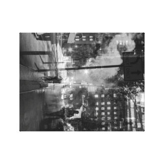 double exposure NYC buildings and street Stretched Canvas Print