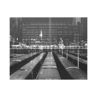 double exposure NYC skyline and train depot Stretched Canvas Print