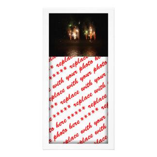 Double Fireworks Fun Photo Greeting Card