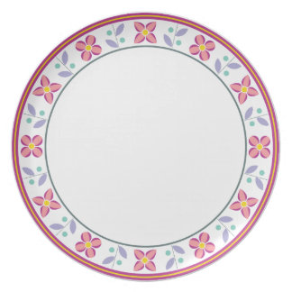 Double Flower Pattern Pink Plate