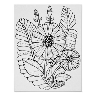Double Flower Spray Cardstock Adult Coloring Page Poster
