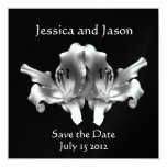 Double Flower Wedding Save the Date 5.25x5.25 Square Paper Invitation Card