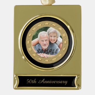 Double Frame Golden Wedding Anniversary Photo Gold Plated Banner Ornament