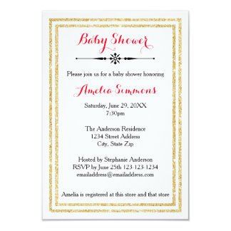 Double Gold Trim  - 3x5 Baby Shower Invitation