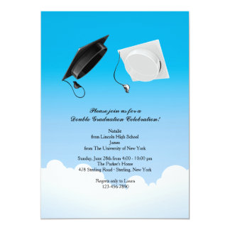 Double Graduation Hat Toss Vertical 13 Cm X 18 Cm Invitation Card