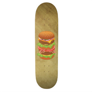 Double hamburger with cheese and bacon skate deck