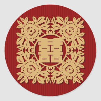 Double happiness chinese wedding stickers