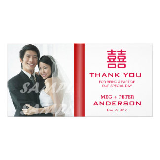 Double Happiness Chinese Wedding Thank You Custom Photo Card