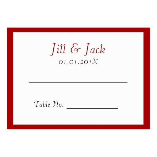 Double Happiness • Heart  • Bold Red • Place Cards Business Card Templates