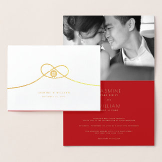 Double Happiness Knot Chinese Wedding Invite Card