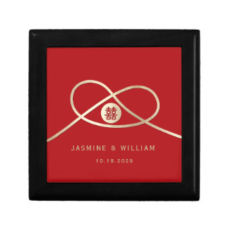Double Happiness Knot Red Chinese Wedding Gift Box
