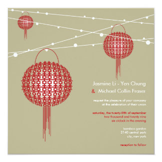 Double Happiness Lanterns Modern Chinese Wedding 13 Cm X 13 Cm Square Invitation Card