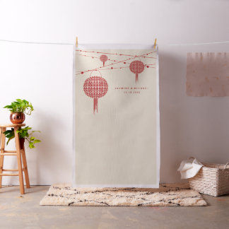 Double Happiness Lanterns Wedding Photo Backdrop Fabric