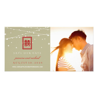 Double Happiness Lights Save The Date Photo Card