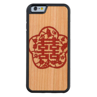 """Double Happiness Phone Case"" Carved Cherry iPhone 6 Bumper Case"