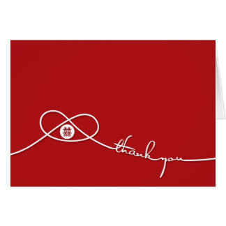 Double Happiness Red Knot Wedding Thank You Card