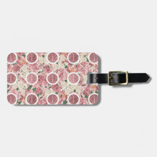 Double Happiness Symbol on Gentle Peony pattern Luggage Tag