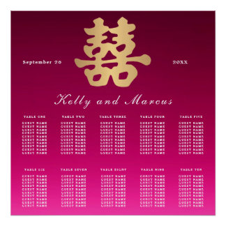 Double Happiness | Wedding Seating Plan Poster