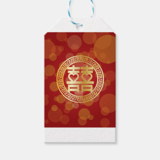 Double Happiness Wedding Symbol with Hearts Red Gift Tags