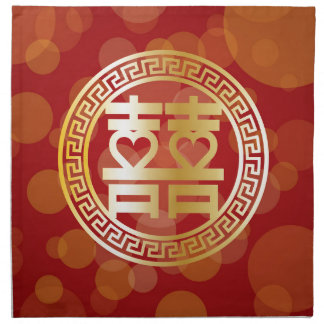Double Happiness Wedding Symbol with Hearts Red Napkin