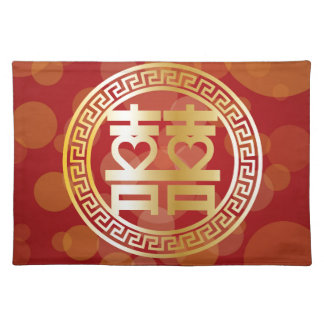 Double Happiness Wedding Symbol with Hearts Red Placemat