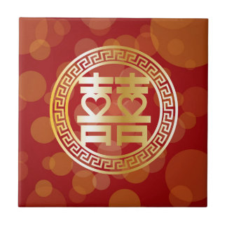 Double Happiness Wedding Symbol with Hearts Red Tile