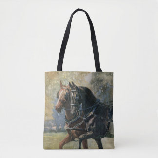 Double Harness Black Beauty Ginger Horse Painting Tote Bag