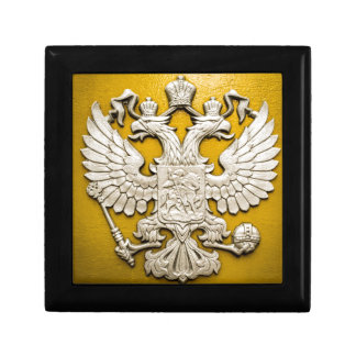 Double Headed Gold Eagle Small Square Gift Box