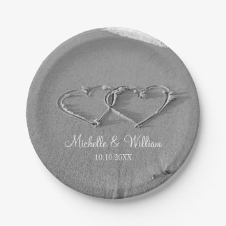 Double heart in beach sand wedding party plates