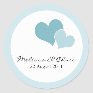 Double Heart Wedding Labels - Light Teal Stickers