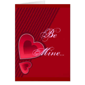 Double Hearts Be Mine In Pink Greeting Card