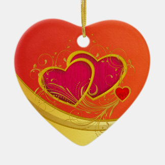 Double Hearts Double-Sided Heart Ceramic Christmas Ornament