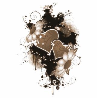 Double Hearts & Flowers - Sepia Brown Photo Sculpture Decoration