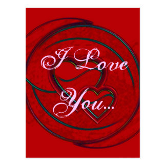 Double Hearts I Love You Post Cards