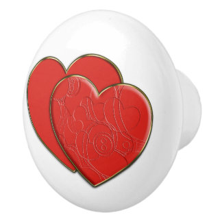Double Hearts in Love + your backgr. & ideas Ceramic Knob