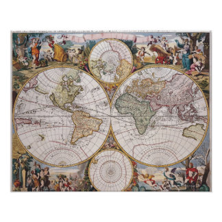 Double Hemisphere Polar Map Poster