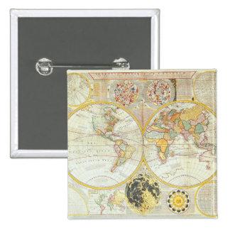 Double Hemisphere World Map 15 Cm Square Badge