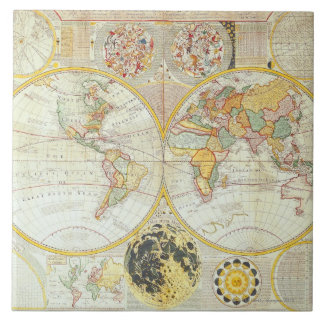 Double Hemisphere World Map Ceramic Tile