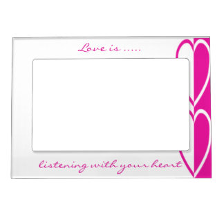 Double Hot Pink Hearts Magnetic Frame- customize Frame Magnet