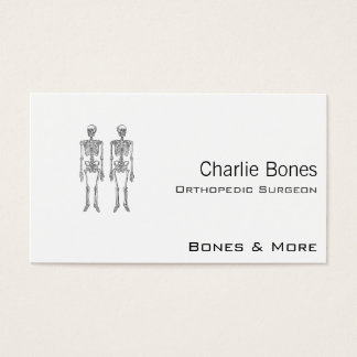 Double Human Skeletons White Business Card
