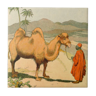 Double-Hump Camel in the Mongolian Desert Ceramic Tile
