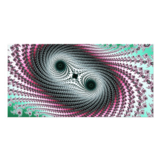 Double Hurricane - green and pink fractal design Photo Card Template