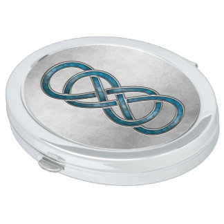 Double Infinity Cloisonne' Marbled Aqua - Compact Makeup Mirrors